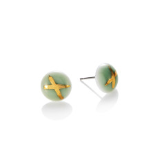 Gold cross porcelain stud in green