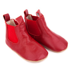 Pre-walker leather riding boots in red