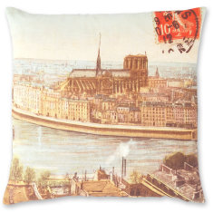 Parisian Scene linen cushion cover