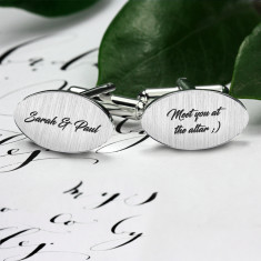 Wedding cufflinks engraved with your text