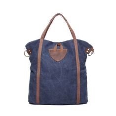 Canvas shopping tote shoulder bag in dark blue