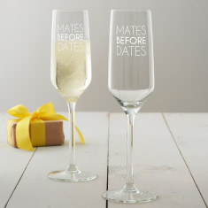 Mates Before Dates Champagne Glass