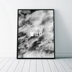 Wild Monochrome Water Art Print
