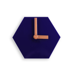 Geo desk clock in navy blue