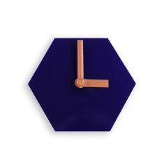 Geo desk clock in navy blue with bronze hands