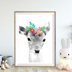 Daisy deer art print (various sizes)