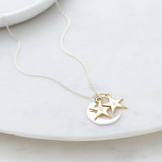 Personalised Moon and Stacking Stars Necklace