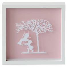 Vintage kids swinging in the sun paper cut