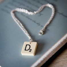 Vintage letter tile personalised necklace