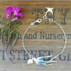 Violetta sterling silver swallow and heart bracelet