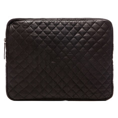 Black 15 inch enzo quilted leather laptop case