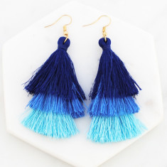 Tassel drop earrings in blue ombre and gold