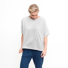 Organic Boxy Crop Tee in Grey Marle