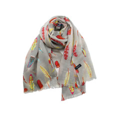 Exotic feather print wool scarf/shawl