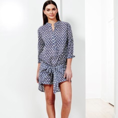 Hip tie tunic in navy/white print