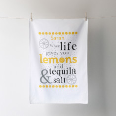 Personalised when life gives you lemons tea towel