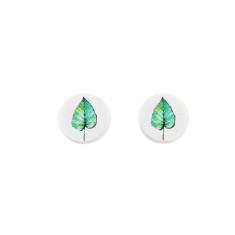 Sterling silver and wood stud earrings in leaf