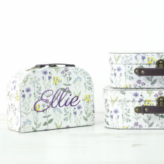 Personalised Floral Suitcase Storage Box Trio