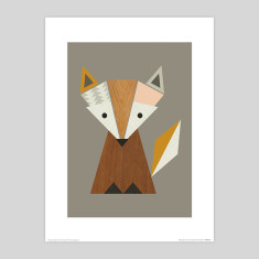 Geometric fox nursery art print