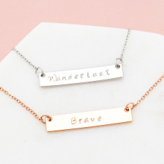 Personalised hand stamped inspiration bar necklace in rose gold or silver