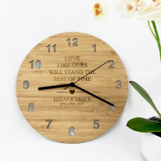 Love Like Ours Personalised Bamboo Wall Clock