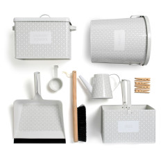 Laundry accessories set in spring grey