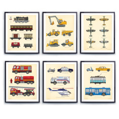 Transportation Chart Prints (set of six)
