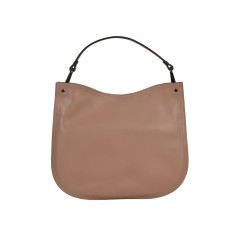 Genuine cross-body leather bag in nude color