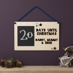 Personalised Advent Wooden Sign