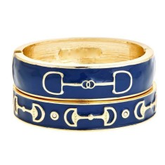Gold Equestrian Bracelet In Navy Blue