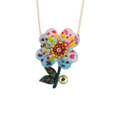 Psychedelic spotted hollyhock necklace