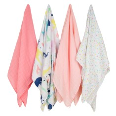 Weegoamigo Party Animals baby muslin swaddle (4 pack)