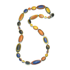 Abstraction long pebble necklace