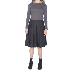 Charcoal pleated cotton wrap skirt