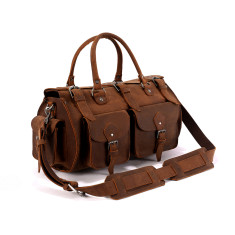 Rounded Leather Duffle Travel Bag In Tan