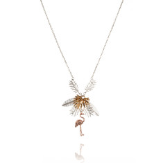 Amanda Coleman - flamingo and multiple palm leaves necklace