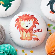 Personalised Lion Round Cushion