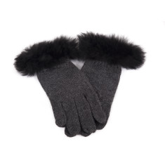 Alpaca Fur Trim Jersey Knit Gloves