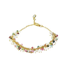 Sara cluster bracelet in gold plate with multi tourmaline