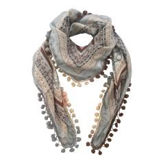 Grace silk scarf with pompom trim