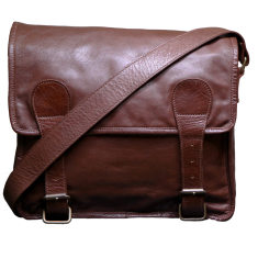 Tan 13 inch satchel messenger bag