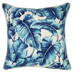 Outdoor cushion in Caribbean Ocean Blue (various sizes)