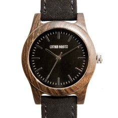 Lincoln black sandalwood and suede watch
