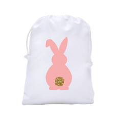 Easter egg hunt tote bag - bunny bling tail in peach or mint