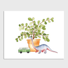 Dinosaur Child Nursery Watercolour Illustration Art Print