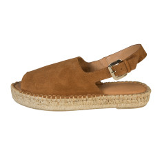 Alohas Tan Suede Platform Heelstrap Sandals
