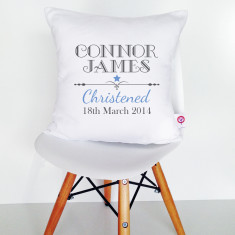 Personalised Boys' Christening Cushion Cover