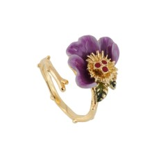 Purple flower adjustable ring