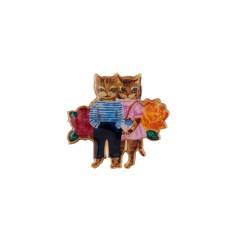 Kitty Couple Cat Brooch