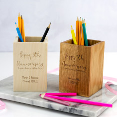 Personalised 5th Anniversary Wood Pen Pot